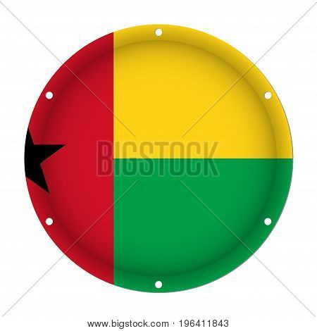 round metallic flag of Guinea-Bissau with six screw holes in front of a white background