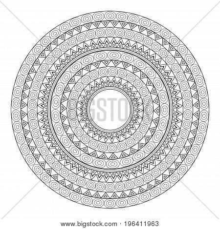 Mandalas for coloring book. Decorative black and white round outlane ornament. Unusual flower shape. Oriental vector and anti-stress therapy patterns. Vector yoga logos design element.