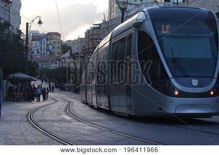 A new tram line in Jerusalem. Israel