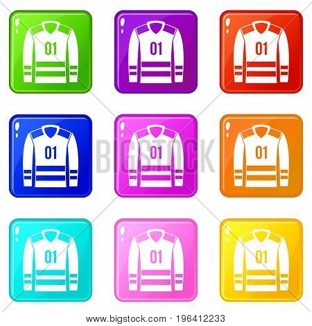 Sport uniform icons of 9 color set isolated vector illustration