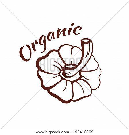 Organic. Monochrome emblem isolated on white background. Can be used us labels or banners or stickers for organic shops and markets. Vector illustration.