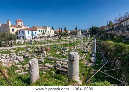 Athens, Greece - March 4, 2017:  The Ruins Of The Roman Agora In Plaka Area, Athens