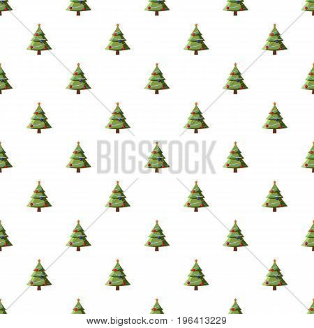 Christmas tree pattern seamless repeat in cartoon style vector illustration