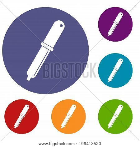 Color picker pipette icons set in flat circle red, blue and green color for web