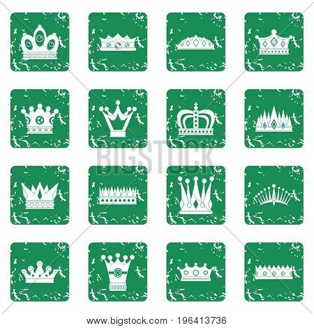 Crown icons set in grunge style green isolated vector illustration