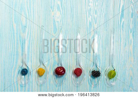 Collage Of Different Fruits And Berries Isolated On White. Blueberries, Cherries, Blackberries, Stra