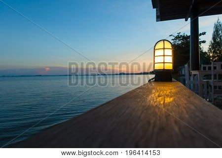 Close up sunset at outdoor restaurant background