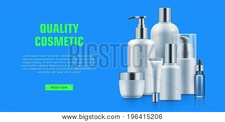 Quality cosmetic bottle poster. Beauty and health concept. Cleansing and skincare organic treatment. Realistic template vector illustration