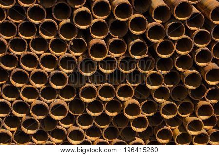 Large number of metal pipes and end view