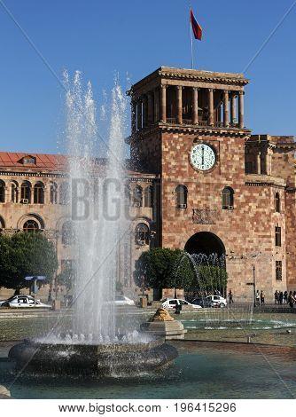Yerevan,Armenia - July 10,2017:The beautiful building on the Square of the Republic in Yerevan, Armenia.