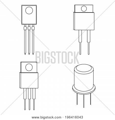 Set Of Transistor Outline Icons. Vector Illustration