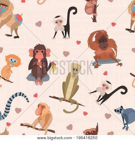 Different monkey character bread animal wild vector cute set illustration. Macaque nature primate cartoon wild zoo cheerful gorilla ape chimpanzee wildlife jungle animal seamless pattern background