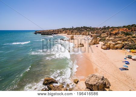 Sao Rafael Beach In Albufeira A Popular Travel And Vacations Destination Algarve Portugal. Summer Vo