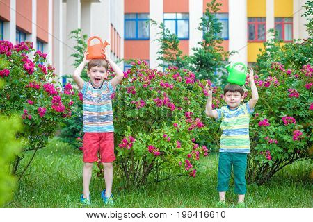 Two Little Kid Boys Watering Roses With Can In Garden. Family, G