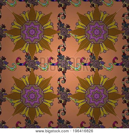 Vector Ethnic Oriental Circle Ornament. Islam Arabic Indian ottoman motifs on a background. Flower Mandala seamless pattern.