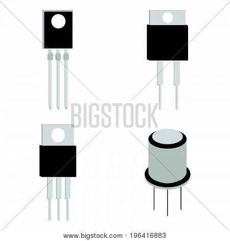 Set Of Transistor Cartoon Icon. Vector Illustration