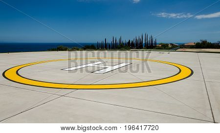 Heliport on an intense blue Sicilian sea