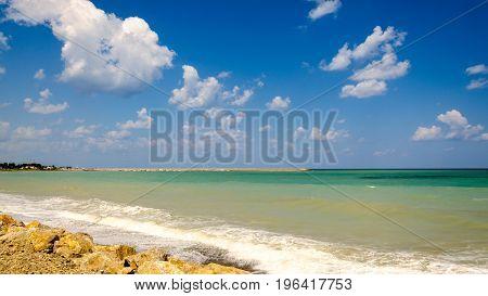 The summer shaky sea. The Sicilian Port