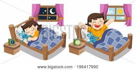 Isolated vector. A Little girl sleeping on tonight good night sweet dreams. and she wake up in the morning.
