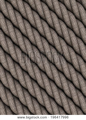 Hemp thick rope for background. 3d illustration.