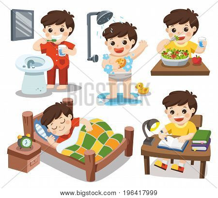 Isolated vector. The daily routine of a cute boy on a white background. [sleep brush teeth take a shower eat salad read].