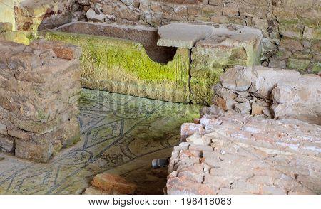 Archaeological site of the Euphrasian Basilica in Porec Istria. Croatia