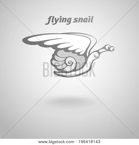 Funny flying snail with wings. Conceptual metaphor. Flight of shelled slug means a swift level up, speedy delivery of message, embodiment of cherished dream. Gray logo floating over light background.