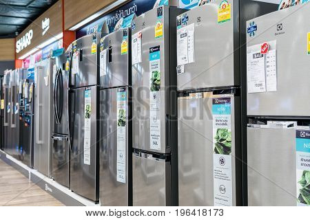 Power Buy Store, Bangkok, Thailand - May 20, 2017: Many refrigerator sold in electrical appliances.