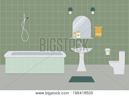 Bathroom and toilet in a green color. There is a bathtub, a wash basin, a toilet bowl, a mirror and other objects in the picture. Vector flat illustration.