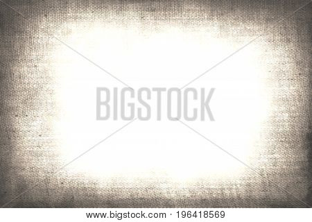 Canvas textile jute frame and white empty background