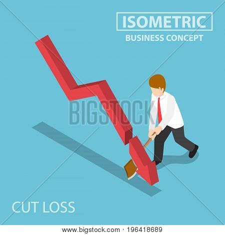 Isometric Business Cut Falling Graph By Axe