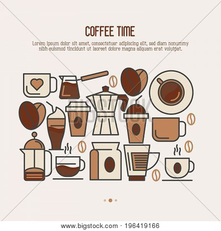 Coffee time concept with thin line icons of equipment for cooking and coffee beans for shop, cafe, menu or web site. Vector illustration.