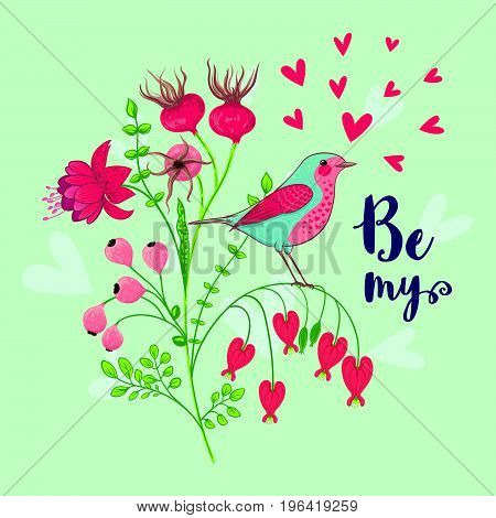 Vector illustration of a bird and a blooming branch. Floral background with Be my message