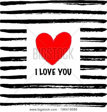 I love you card I love you card with a heart on the hand drawn background