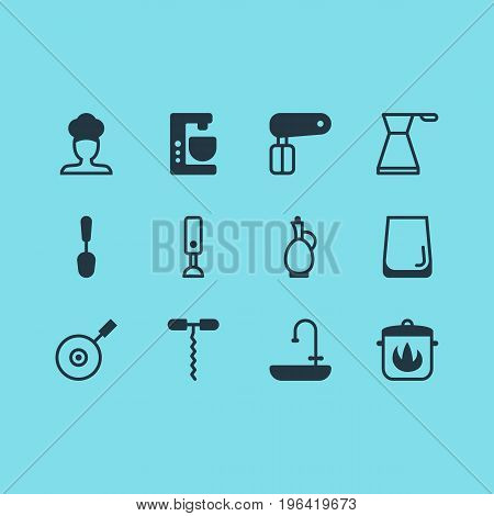 Vector Illustration Of 12 Cooking Icons. Editable Pack Of Skillet, Mixer, Stewpot And Other Elements.