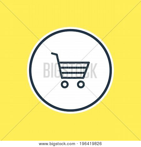 Beautiful App Element Also Can Be Used As Shopping Element. Vector Illustration Of Buying Cart Outline.