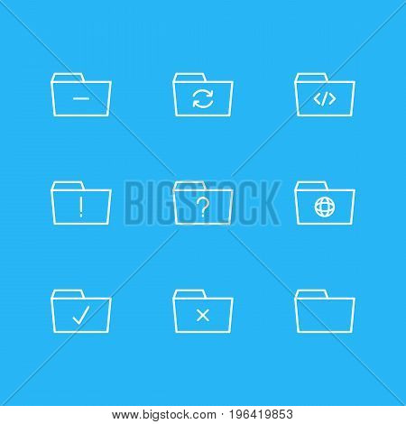Editable Pack Of Recovery, Script, Remove And Other Elements. Vector Illustration Of 9 Dossier Icons.