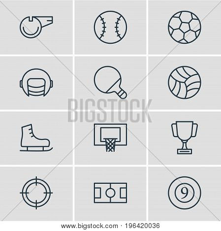 Editable Pack Of Game, Cue, Football And Other Elements. Vector Illustration Of 12 Athletic Icons.