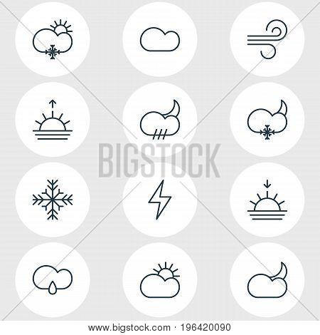 Vector Illustration Of 12 Weather Icons. Editable Pack Of Sunset, Sun, Snow And Other Elements.