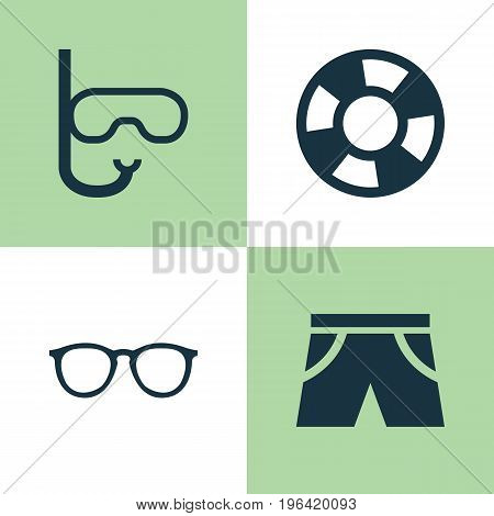 Season Icons Set. Collection Of Spectacles, Tube, Lifesaver And Other Elements