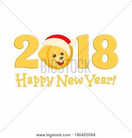 Yellow numbers 2018 with a portrait of a golden labrador retriever in the cap of Santa Claus. A cheerful puppy of the popular breed like a New Year symbol of a Chinese Zodiac. Flat isolated cartoon.