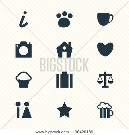 Vector Illustration Of 12 Check-In Icons. Editable Pack Of Heart, Home, Pet Shop And Other Elements.
