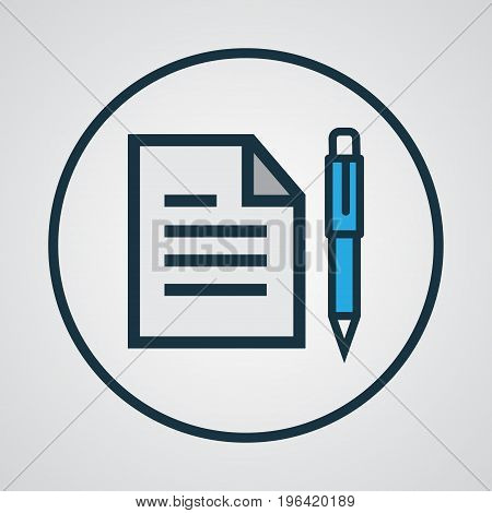 Premium Quality Isolated Agreement Element In Trendy Style. Contract Colorful Outline Symbol.