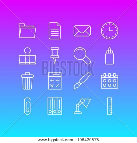 Vector Illustration Of 16 Tools Icons. Editable Pack Of Folder, Meter, Binder Clip And Other Elements.