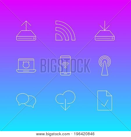 Vector Illustration Of 9 Internet Icons. Editable Pack Of Information Load, Wireless Network, Router And Other Elements.