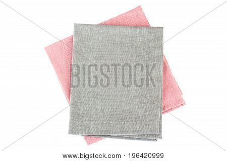 Pink and gray textile napkins isolated on white