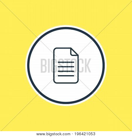 Vector Illustration Of File Outline. Beautiful Stationery Element Also Can Be Used As Folder  Element.