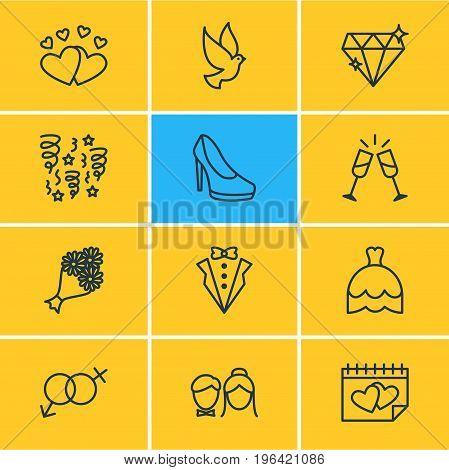 Vector Illustration Of 12 Engagement Icons. Editable Pack Of Calendar, Bridegroom Dress, Sandal Elements.