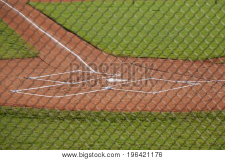 Home Plate and Batter's Boxes on a Baseball Field