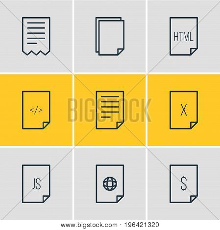 Editable Pack Of HTML, Internet, Document And Other Elements. Vector Illustration Of 9 Page Icons.